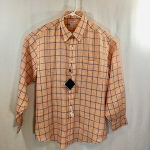 Brooks Brothers Shirt XL, Lg Sleeves, Orange&Blue